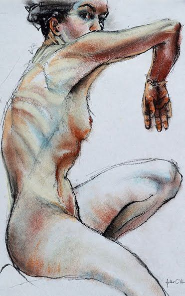 Nude on white, pastel drawing by A.C.Worker