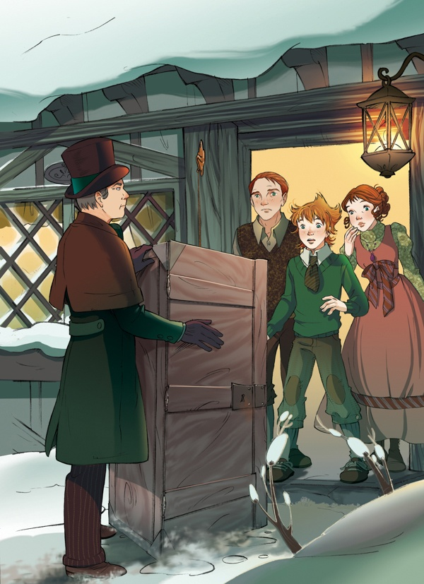 Fairy Oak-The Burdock Family: Vic and Martha Burdock live with their only son Grisam in a simple, strong and robust house. As it stands on the west side of the village, its walls are often exposed to ice-cold, strong winds and that's why the Burdock's forefathers made them so thick and the windows so small.