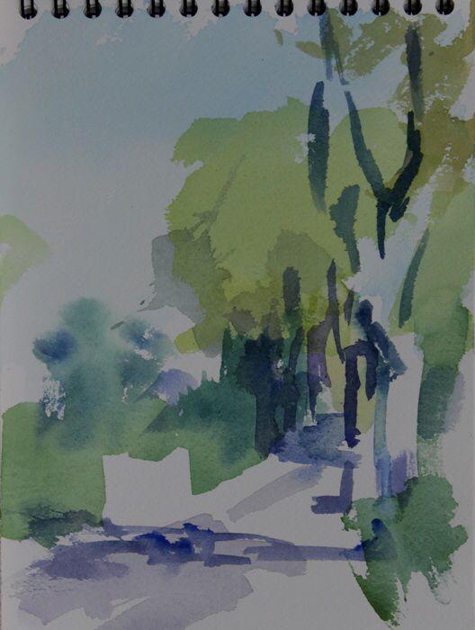 Plane trees, Pompignan, no.2.  Watercolour 10 x 7 ins.  Philip Richardson