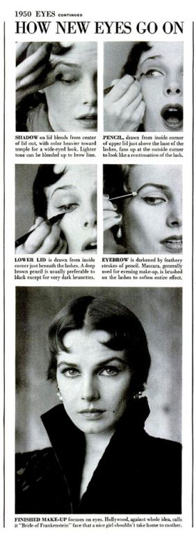 1950s step-by-step photo tutorial for applying eye make-up