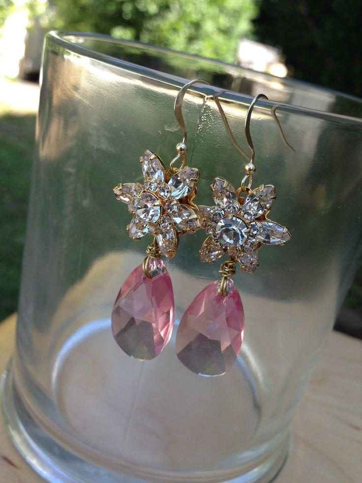 Rose Crystal Flower Earrings, Sonia M Designs