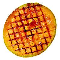 Cantaloupe Brulee'----Cut 2-inch-thick slabs from each of the long sides of a cantaloupe. Brush cut sides with melted butter. Grill over medium-high, cut side dow...