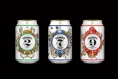 Can design for Tempt Cider Art director Gry Strange Graphic designer me