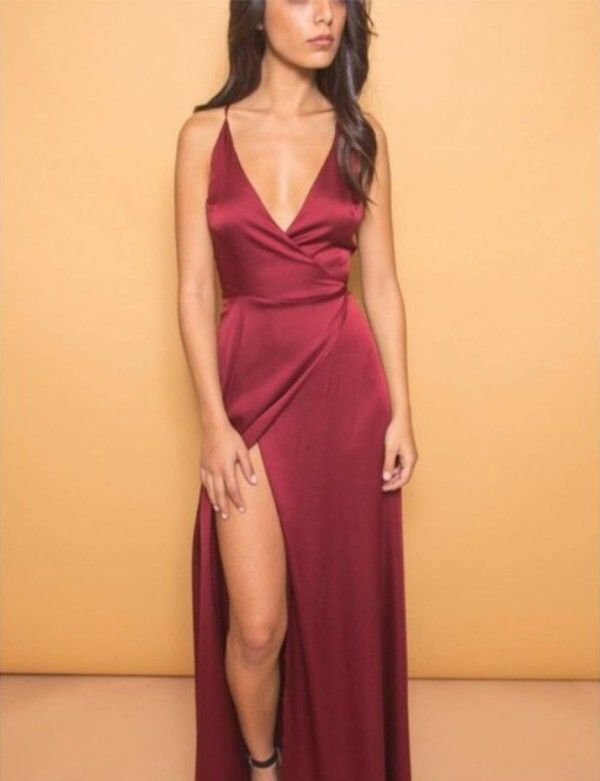 long silk burgundy dress