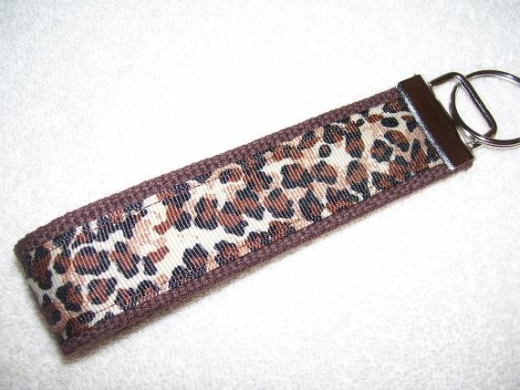 KEY FOBWrist Key ChainBrown Cheetah Leopard by PinkPinsandNeedles, $6.00