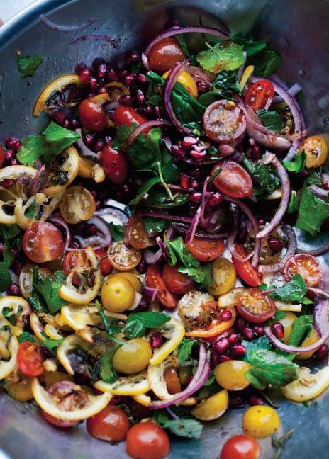 Tomato and Roasted Lemon Salad (with sage, parsley, mint, allspice, pomegranate and pomegranate molasses, red onion)