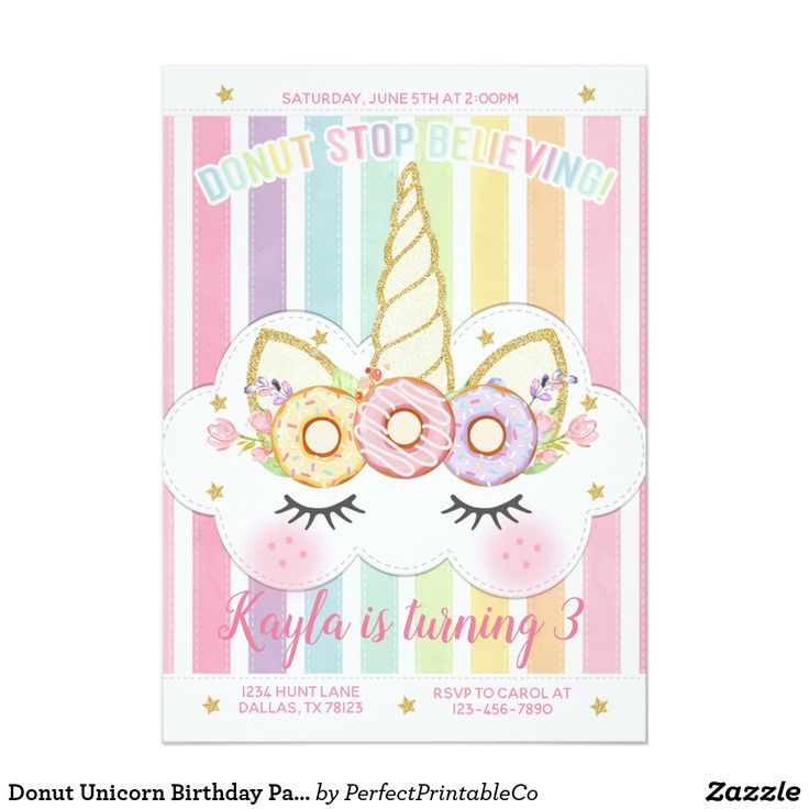 Donut Unicorn Birthday Party Invitation Invite
