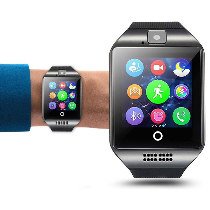 Q18 Smart Wrist Watch Bluetooth Smartwatch Phone With Camera Tf Sim Card Slot Gsm Anti Lost Watch Black Smart Watch Camera Watch Bluetooth Gadgets