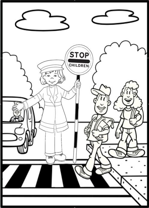 Olivia Road Safety Colouring Page