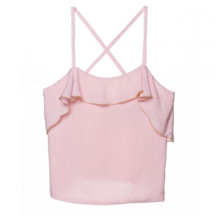 Roze top met gouden randje van het Spaanse merk Plumeti Rain