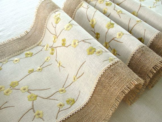 Burlap Table Runner . Embroidered rustic table runner. Handmade in the USA . Ready to ship via Etsy