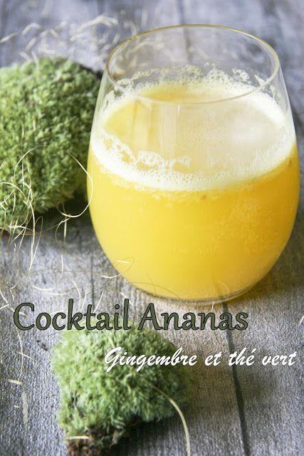 Cocktail ananas, gingembre et thé vert Detox drink, green tea,pineapple, ginger
