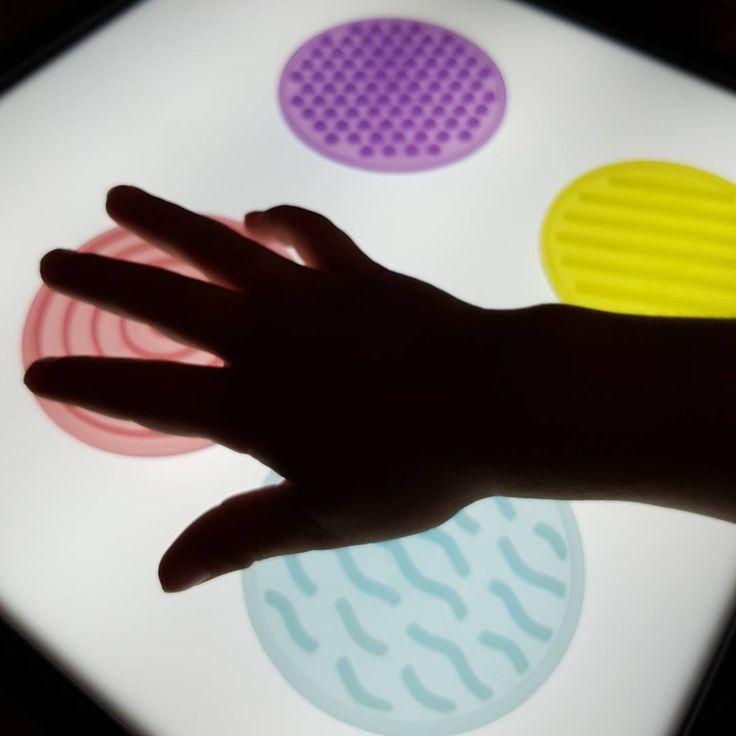 Sensory mats on a lightbox