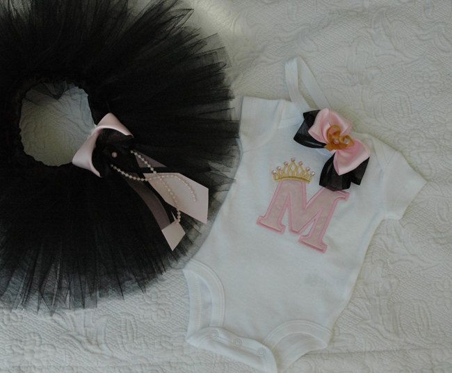 Newborn Welcome Home Outfit, Baby Girl Newborn Tutu Outfit, Black and Pink Newborn Outfit, Monogram Newborn Outfit by TutuUSA on Etsy