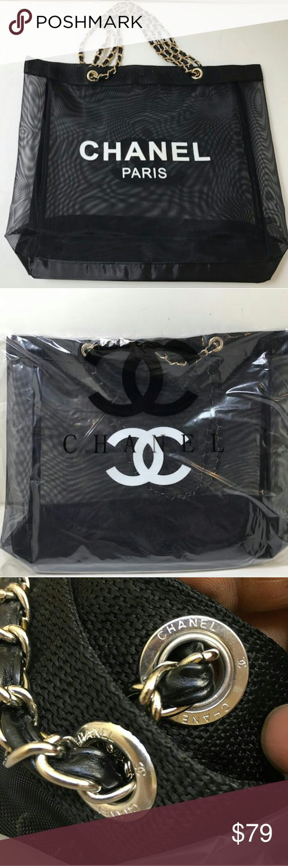 """Brand new Chanel vip gift bag mesh tote bag gold Brand new Chanel vip gift bag mesh tote bag gold chains . size 15"""" x 15"""" . chain drop 11"""".VIP gift form Korea Chanel flagship store. With original packaging. Look at the ring inside the bag with Chanel on it. 100% authentic! CHANEL Bags Totes"""