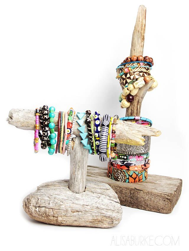DIY Driftwood Jewelry Stand Tutorial from Alisa Burke. I think other than the DIY industrial copper pipe jewelry stand I posted, this is my favorite DIY jewelry organizer. It's really easy to make if you find the right wood. *Used with permission of Alisa Burke.