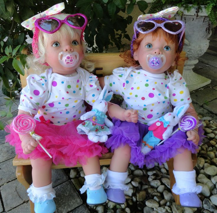 """These adorable party girl twins are reborn from Secrist's """"Happy"""" sculpt. They come complete with outfits, sunglasses, magnetic pacifiers, bunnies and lollipop erasers. Only $159 each with Free US Shipping http://kinderlanddolls.net/Aubrey_and_Audrey.php"""