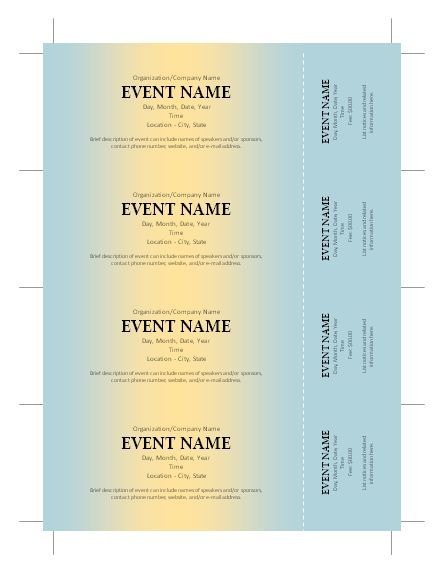 Free Ticket Template More  Free Templates For Tickets
