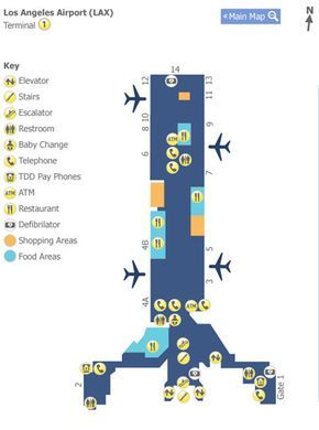 Los Angeles Lax Terminal 1 Map 平面图配色 Pinterest Map