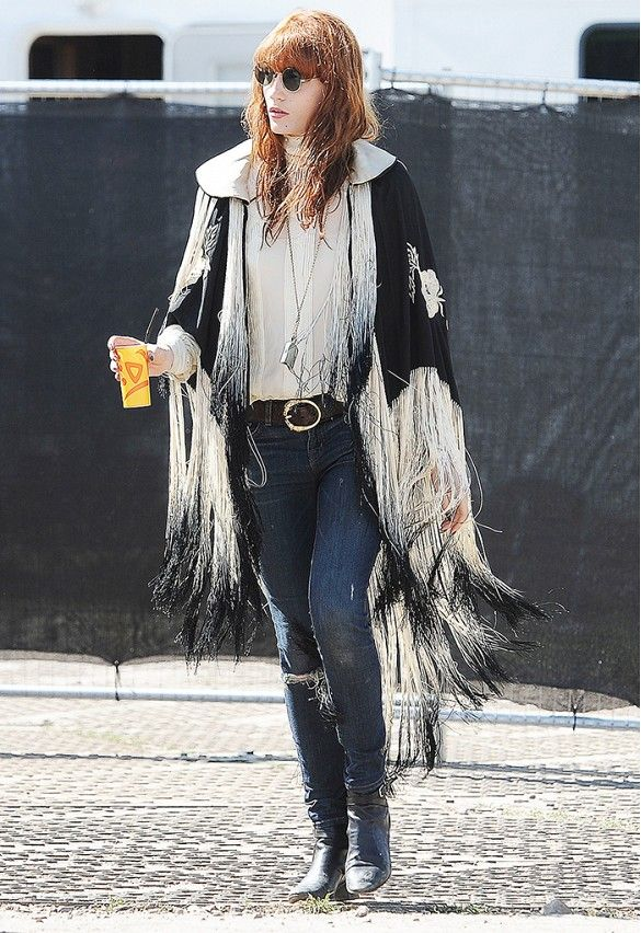 Florence Welch proved she a rock goddess in this fringed cape at #Glastonbury 2013 // #CelebrityStyle
