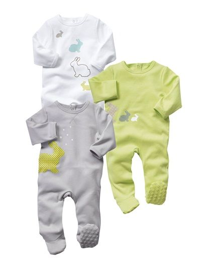 LOVE 3-6 Baby *Happy Price Pack of 3 sleepsuits PISTACHIO + GREY + WHITE