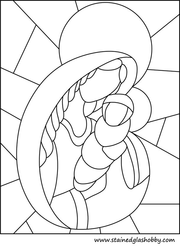 Stained glass outline of Holy Mary and Jesus