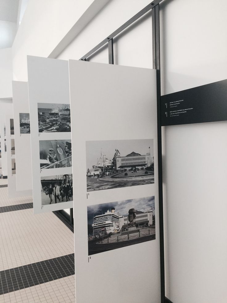 """HISTORY OF A MARINE STATION"" EXHIBITION 2014 / temporal photo gallery in  The Emigration Museum of Gdynia / designed by Grupa Gdyby / fot. M. Przychodzeń"