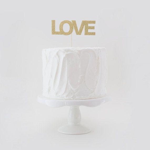 LOVE Cake Topper Wedding Cake Topper Glitter Wedding Cake