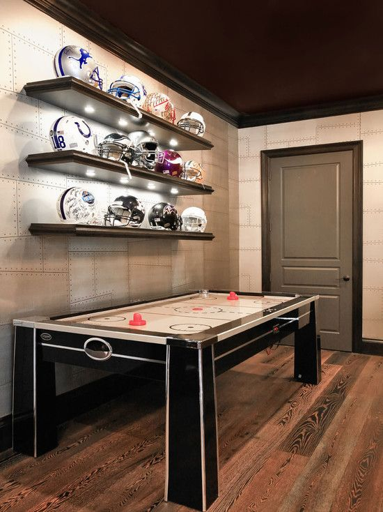 I like the helmet shelf....Man Cave Design, Pictures, Remodel, Decor and Ideas - page 31