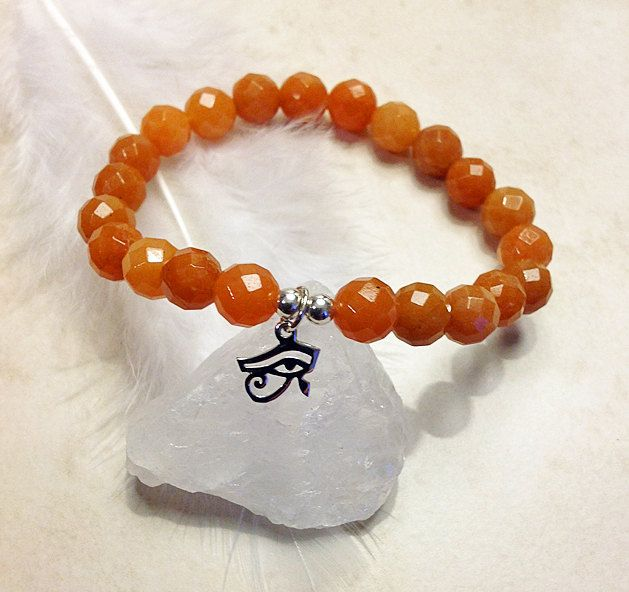 Sky Goddess Bracelet -  Red Aventurine Bracelet, Eye of Horus Bracelet, Meditation Bracelet, Red Bracelet, Egyptian Inspired by InnerFireJewelry on Etsy $34 #eyeofhorus #egyptianjewelry