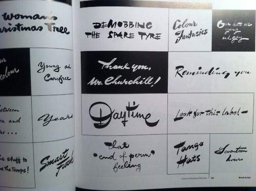 """Rian Hughes: Jaren 50 lettertype, handgeschreven, zeer vloeiend. """"De oude jaren 50 is een geweldig jaar op vlak van design. Zonder twijfel is dit prachtig."""