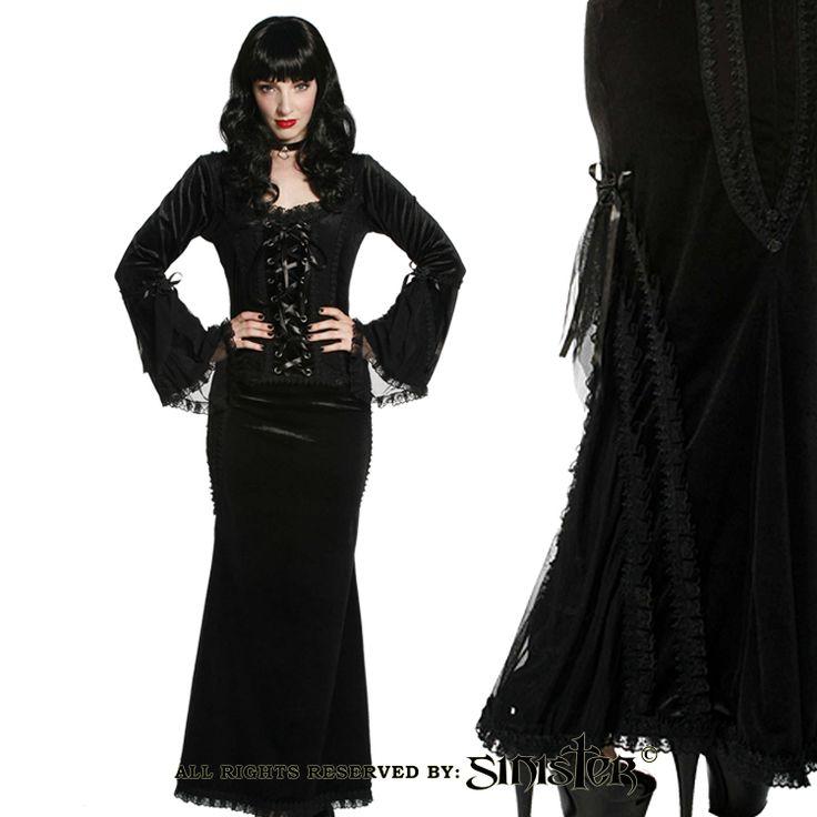 Black velvet and mesh gothic skirt by Sinister (Skirt 578 & Top 579) www.sinister.nl