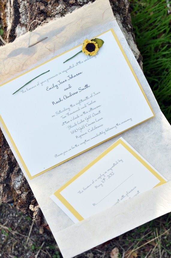 sunflower wedding invitations printable%0A DIY Rustic Handmade Sunflower Wedding Invitation