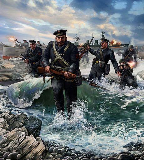 Además de la heroica defensa de Odessa, Leningrado y Sevastopol, La infantería naval soviética tomó parte en numerosos desembarcos a pequeña escala, a parte de las incursiones de los legendarios exploradores de la Flota, siendo un aguijón en los flancos de los alemanes. Más en www.elgrancapitan.org/foro/