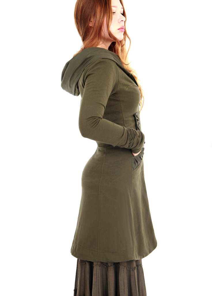 Olive green women hoodie, long classy gorgeous silhouette with a generous hood all sizes. $148.00, via Etsy.    Too bad this doesn't come in bigger sizes...