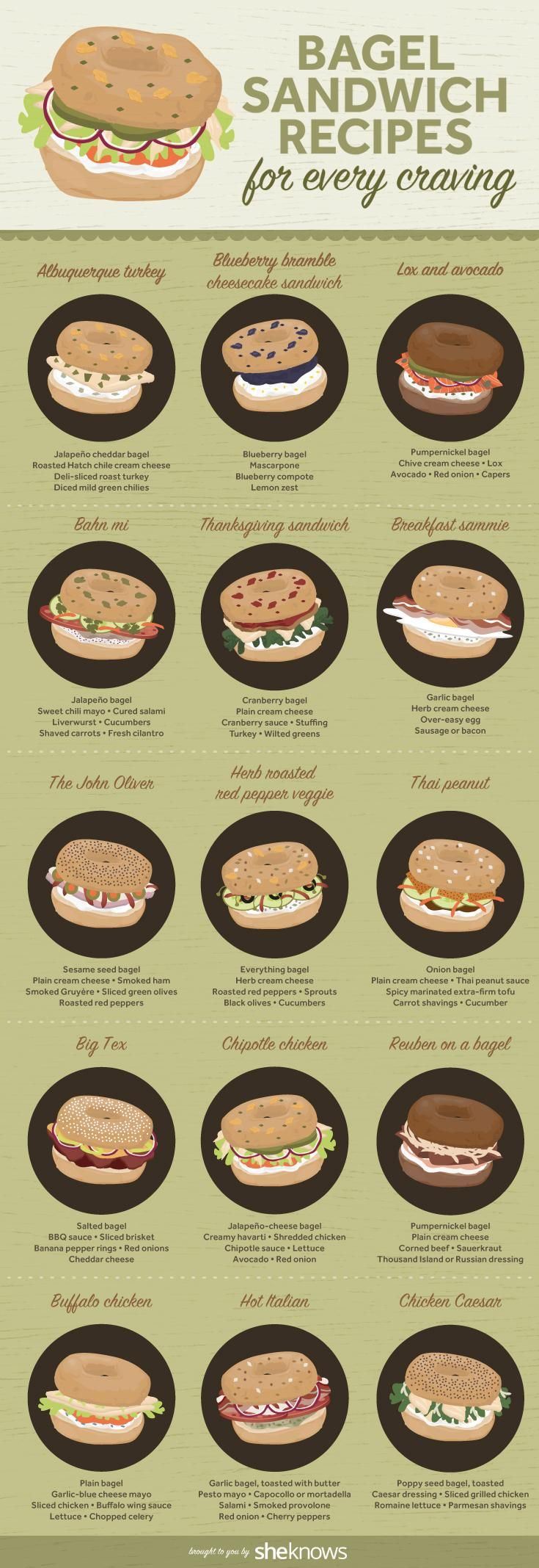 Fun little illustration displaying recipes for all your bagel lovers out there. It's so great when people use illustrations instead of photographs. #food #illustration