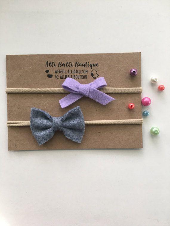 Fieltro Baby Bow Set, arcos de fieltro, cinta de Nylon, venda de la muchacha bebé, recién nacido venda, fotografía Prop