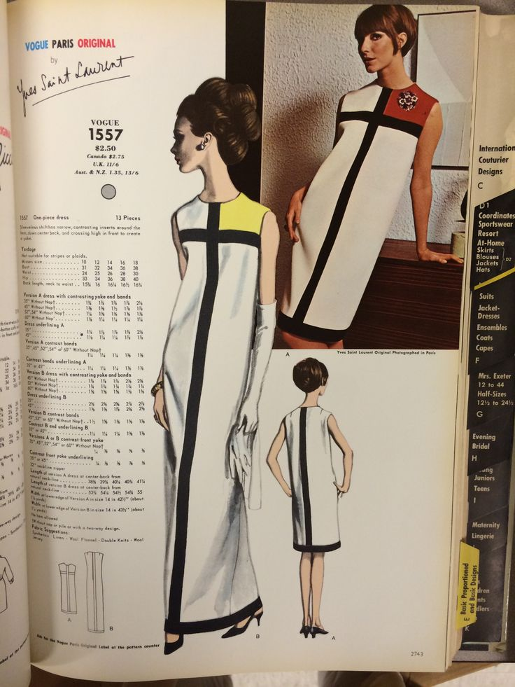 Yves Saint Laurent from the pages of Vogue Patterns catalogs. 1966 catalog. #voguepatterns #yvessaintlaurent #mondriandress