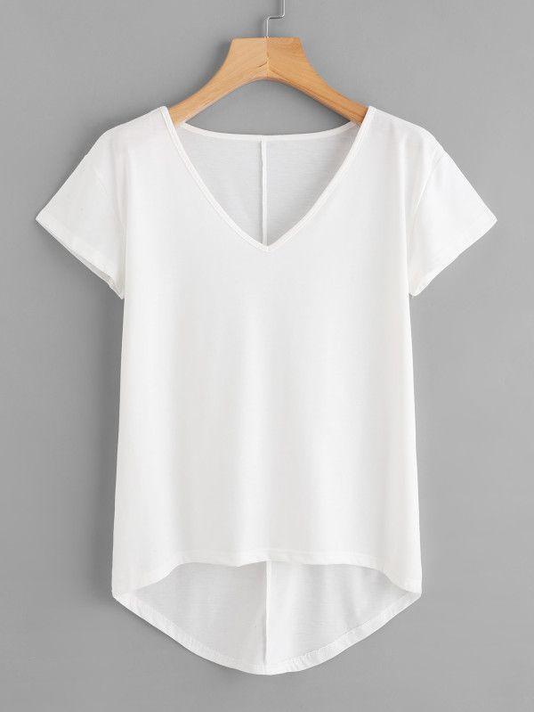Hem Blanca Solid Shein Escote Shirt T V Dip sheinsideRemera yYb6g7f