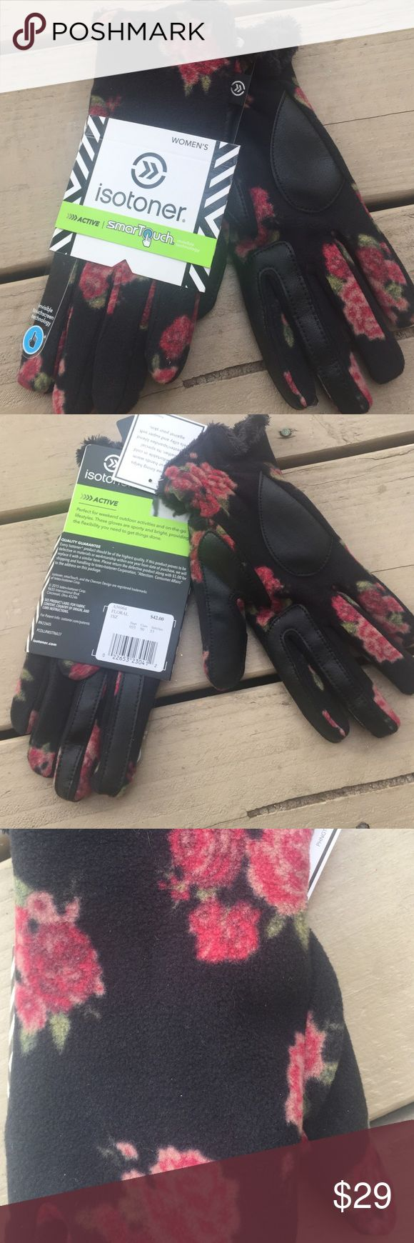 Isotoner womens leather gloves with fleece lining - Floral Isotoner Gloves Sale Nwt