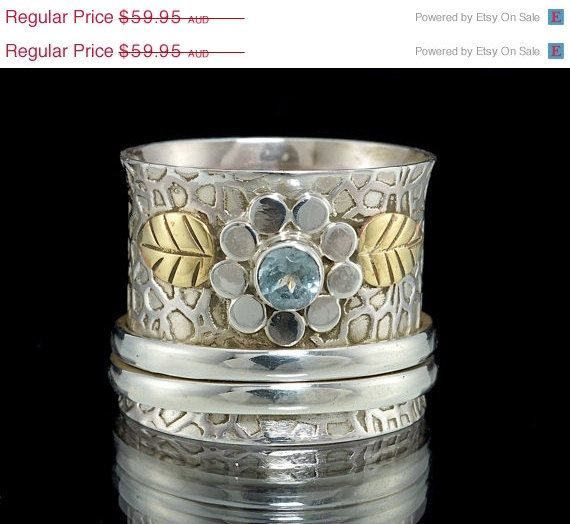 ON SALE Aquamarine Spinner Ring 925 Sterling Silver by fabriika, $47.96