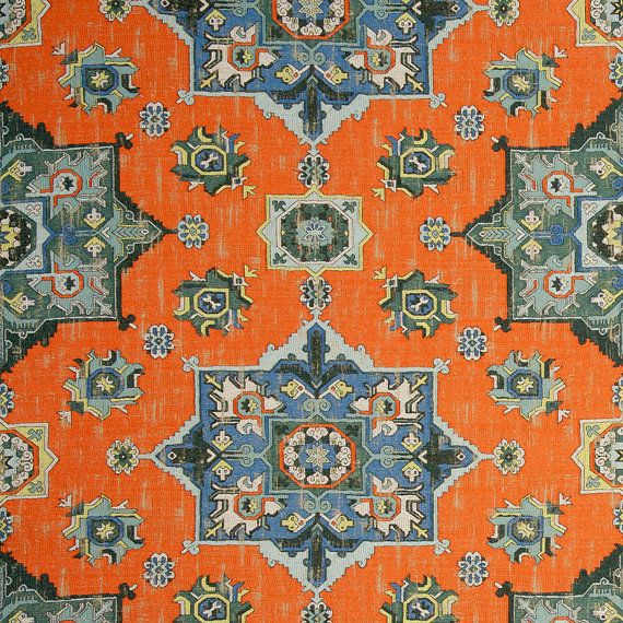 Orange Blue Woven Tapestry Upholstery Fabric - Textured Blue Grey Medallion Fabric for Furniture - Modern Dark Orange Ikat Throw Pillows