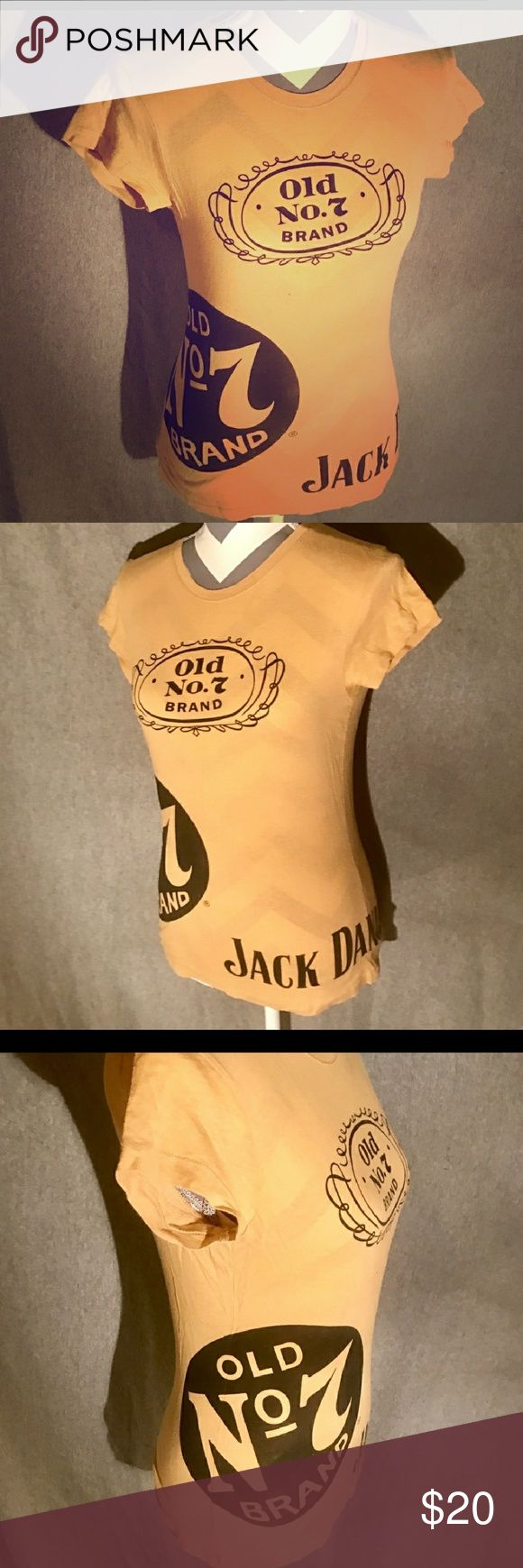 Jack Daniels Tshirt Tan and black. Says large but fits more like a small Tops Tees - Short Sleeve