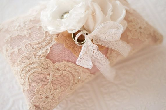 Ring Bearer Pillow Shabby chic romantic wedding ring by Cultivar, $104.00
