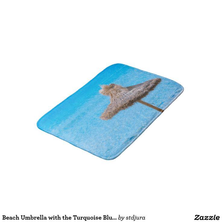 Beach Umbrella with the Turquoise Blue Sea Bath Mats