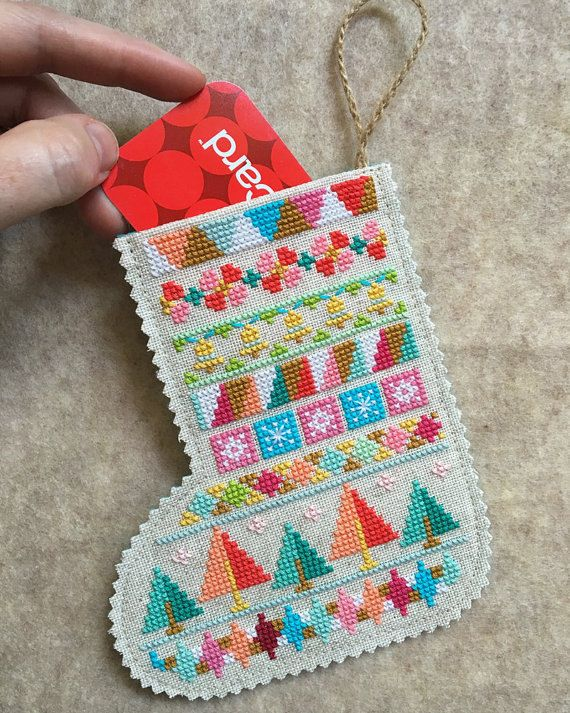 NEW Mini Stockings Christmas cross stitch pattern Set of 4 designs by Satsuma Street at thecottageneedle.com December stockings reindeer by thecottageneedle