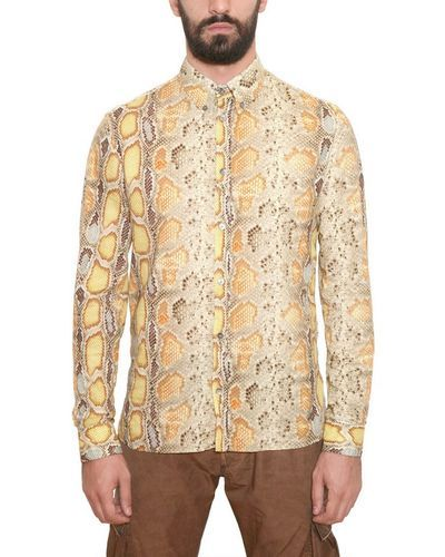 6743fdd0 Men's Yellow Cotton Poplin Python Print Shirt | Snakeskin Shirts for ...