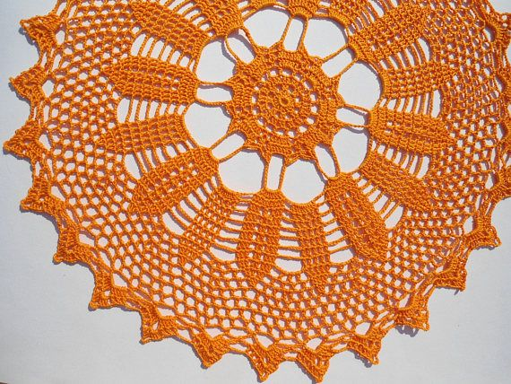 Orange Crochet Doily Lace Doilies Halloween doily Crocheted