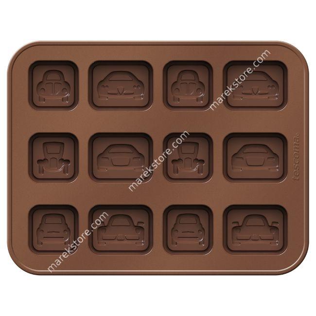 Silikonowa foremka do czekoladek w kształcie samochodzików - 12 szt | Tescoma | 32,99 zł