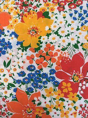 Vintage Floral Fabric Cranston Print Works White Yellow Orange